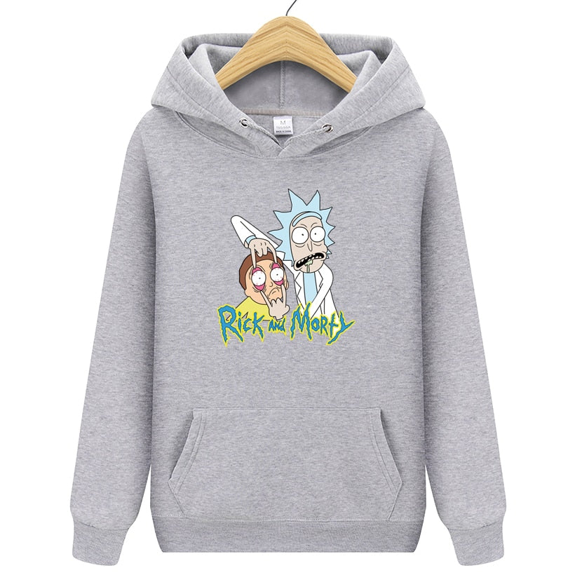 Men's Hoodies Casual Sweatshirt Male Fashion High Quality Rick Morty Print Sweatshirts