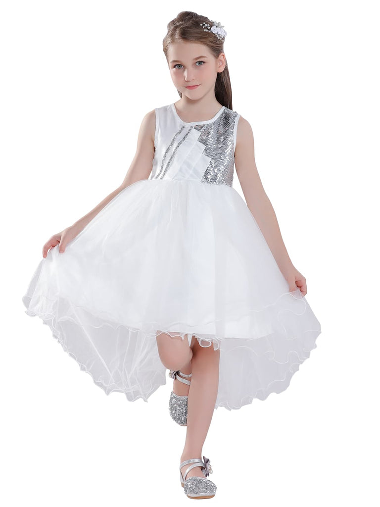 Wedding Sequin Flower Girl Dress High Low Dress