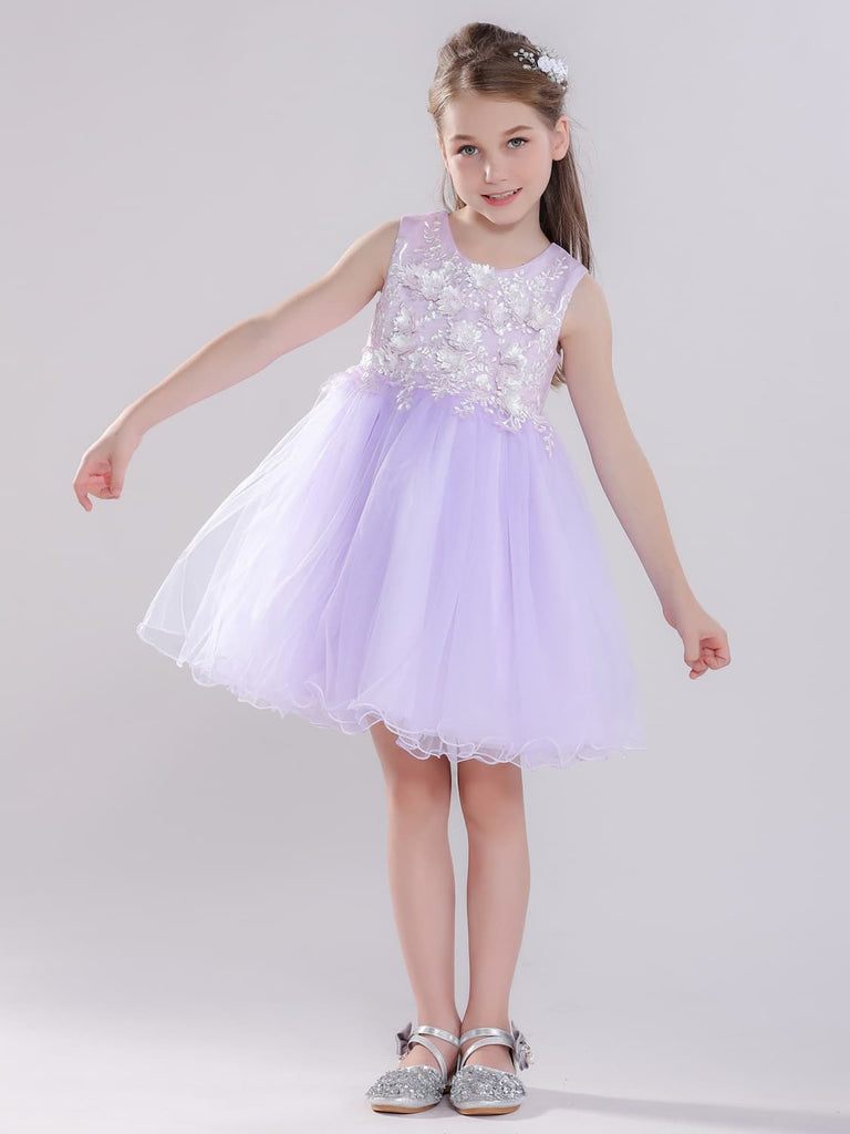 Embroidered Flowers Princess Dress for Flower Girl