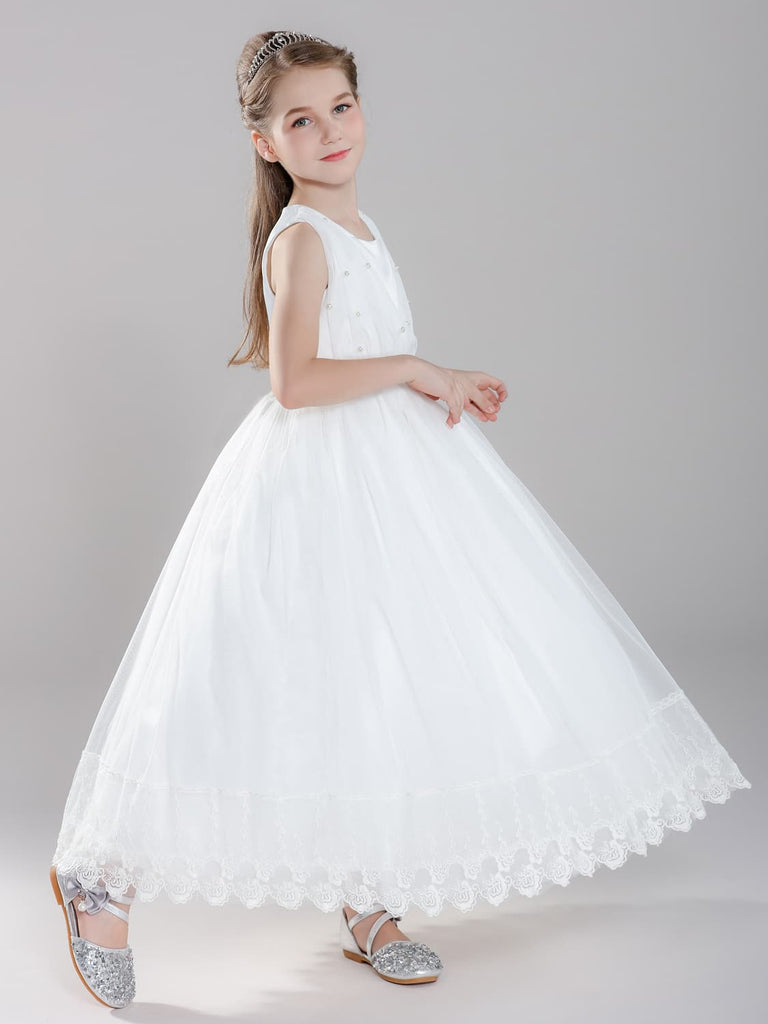 Girls First Communion Dress with Pearls Tulle