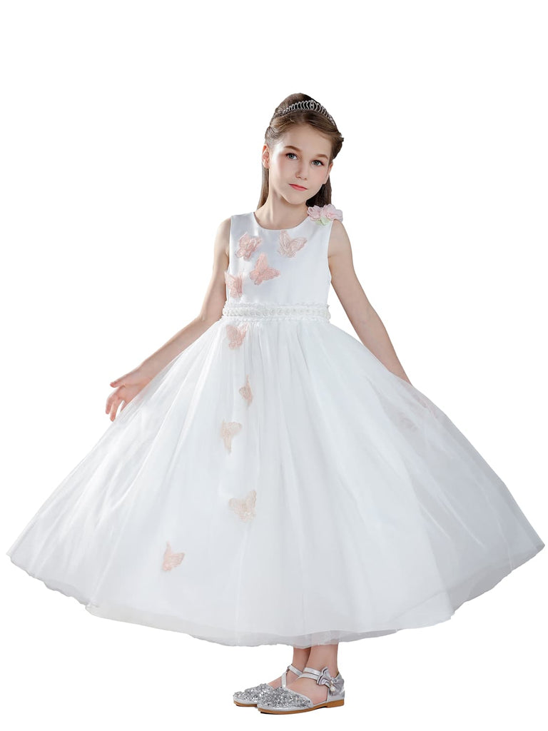 White Wedding Dress for Girls with Embroidered Butterfly