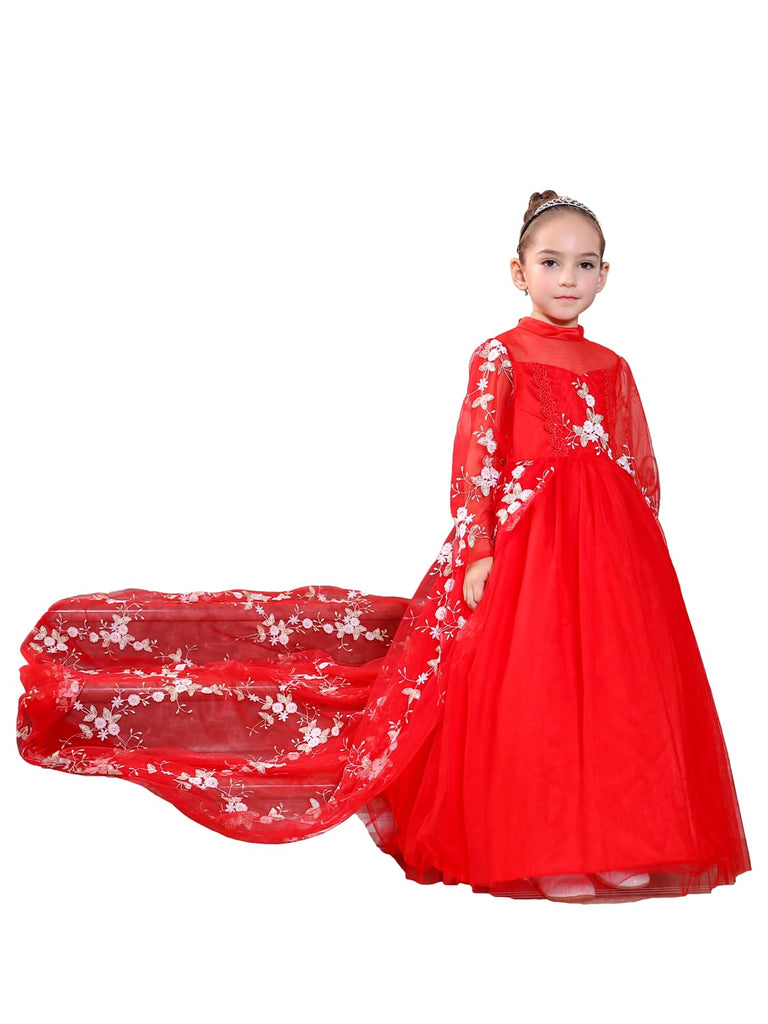 Ball Gown Floor-Length Party Dresses for Girls with Embroidered Flowers