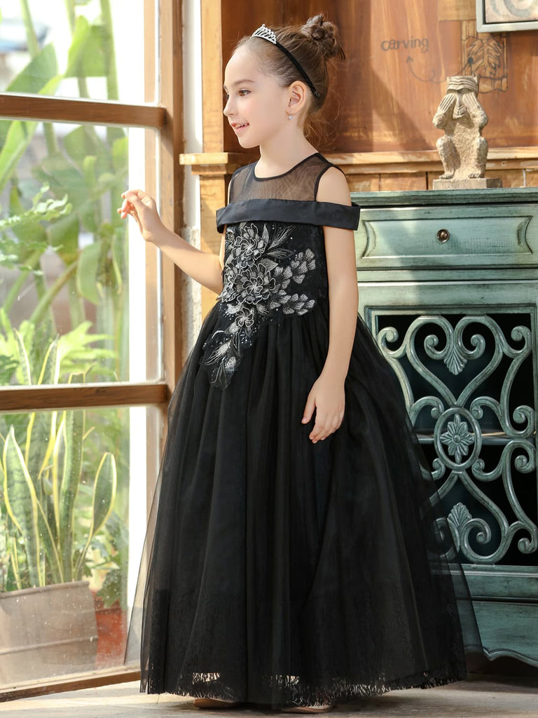 Black Girls Gown Dress with Embroidered Lace