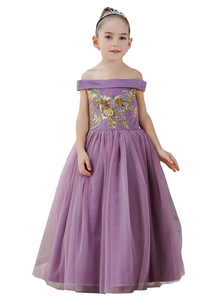 Girl Princess Costume Off Shoulder Tulle Dress