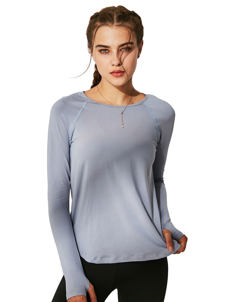 Women's Round Neck Basic Yoga Top with Thumb Holes