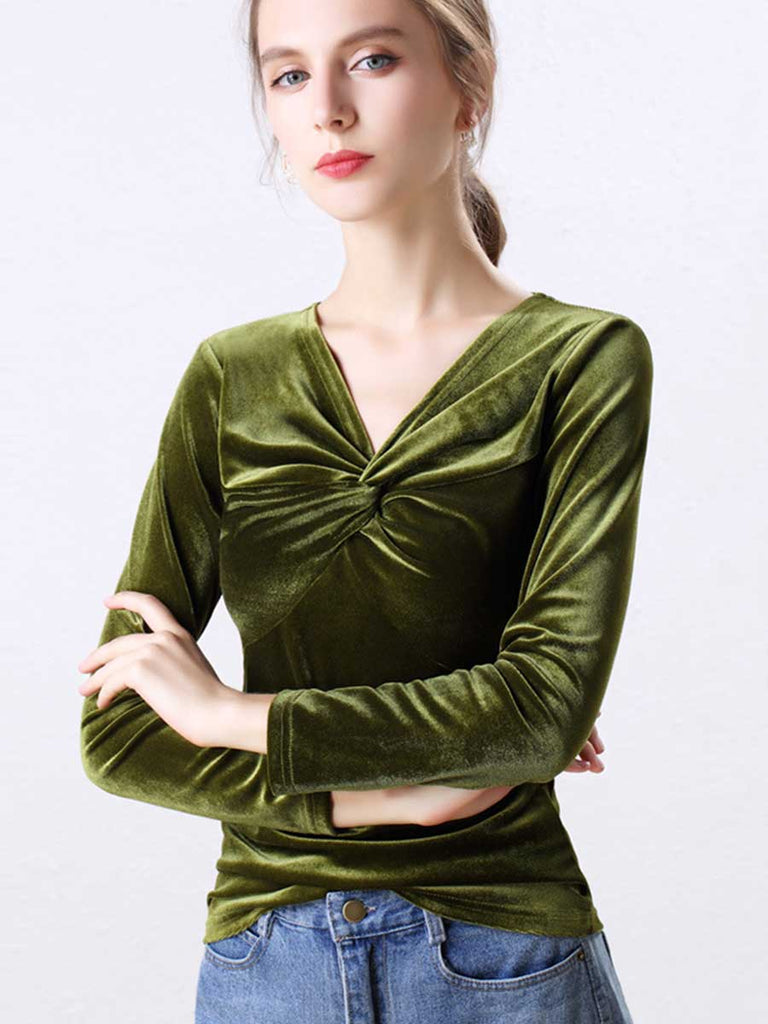 Retro Velvet V-neck Long-sleeved Top