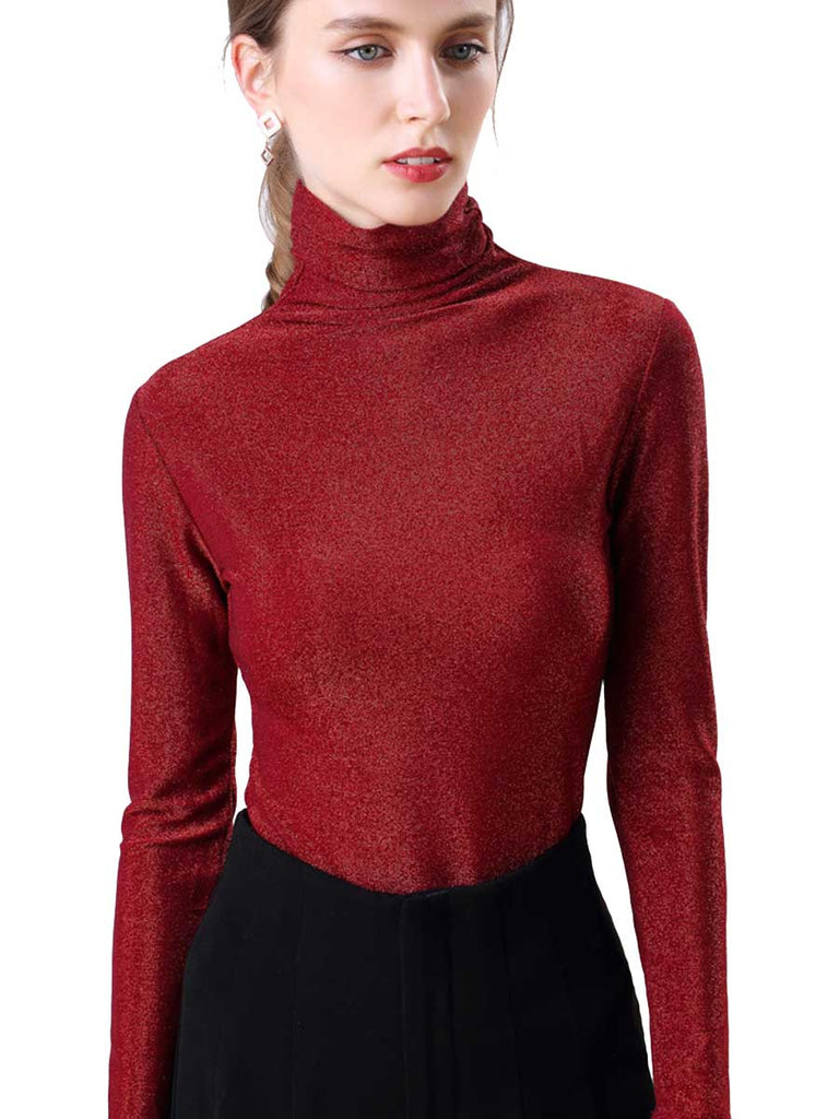 High Collar Bottoming Long-sleeved Bright Silk Top