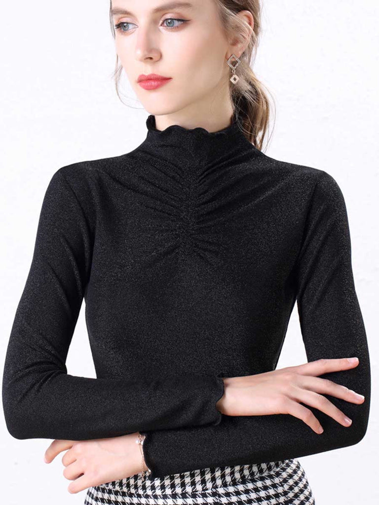 Solid Color Bottoming Silk High-necked Long-sleeved Top