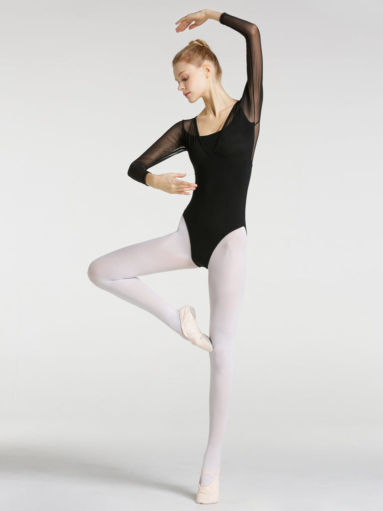 Ladies Ballet Long Sleeve Mesh Leotard