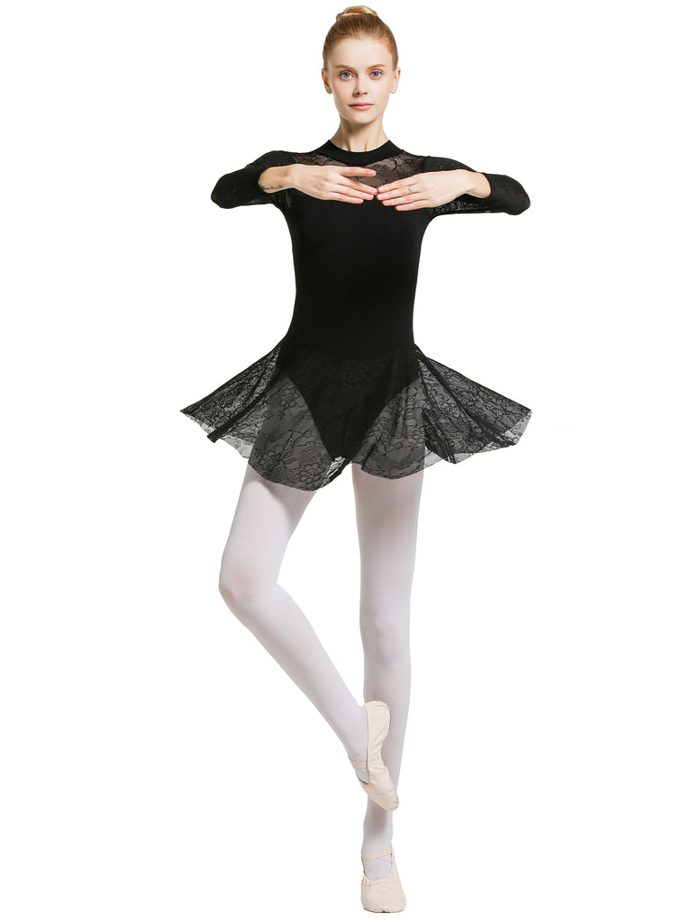 Adult Lace Long Sleeve Skirted Leotard