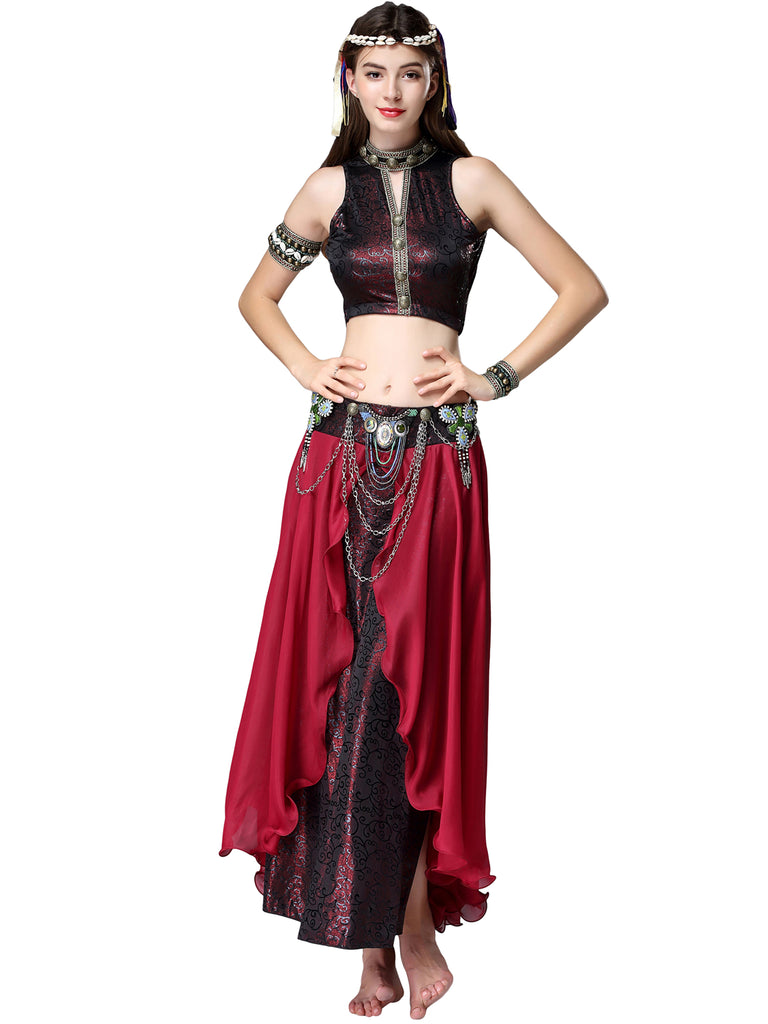 Exotic Tribal Belly Dance Costume with Halter Top Sparkly and Chiffon Skirt