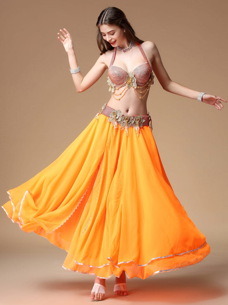 Orange belly dance dress with bright rhinestone design and flower belt