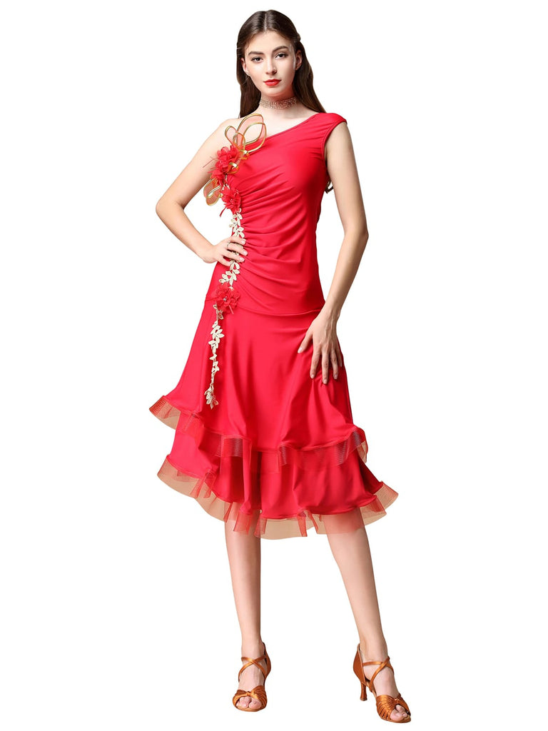 One-piece Latin tango skirt with slanted shoulders design