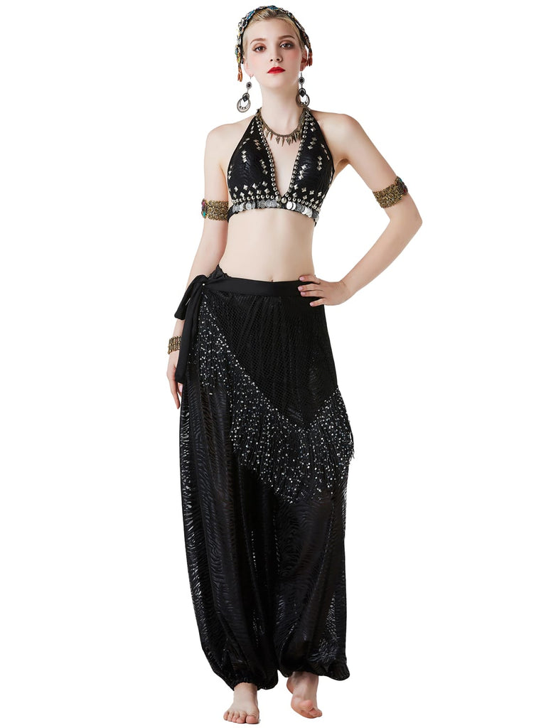 Arabia exotic tribal belly dance set with lace sequined knickerbockers
