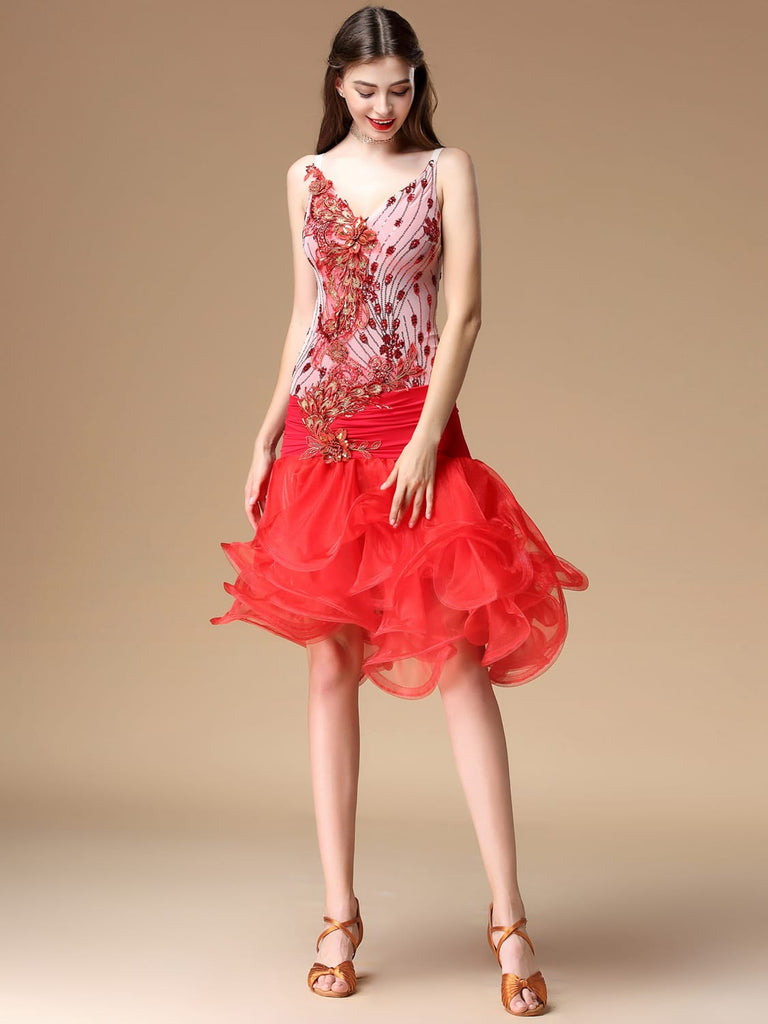 Lace anaglyph flower v-neck half-length Latin tango skirt
