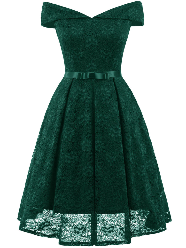 1950s Solid Color Elegant Lace With Bow Dress