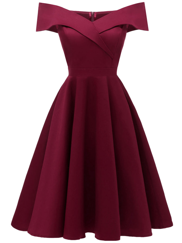 Solid Color Off Shoulder Big Swing Dress