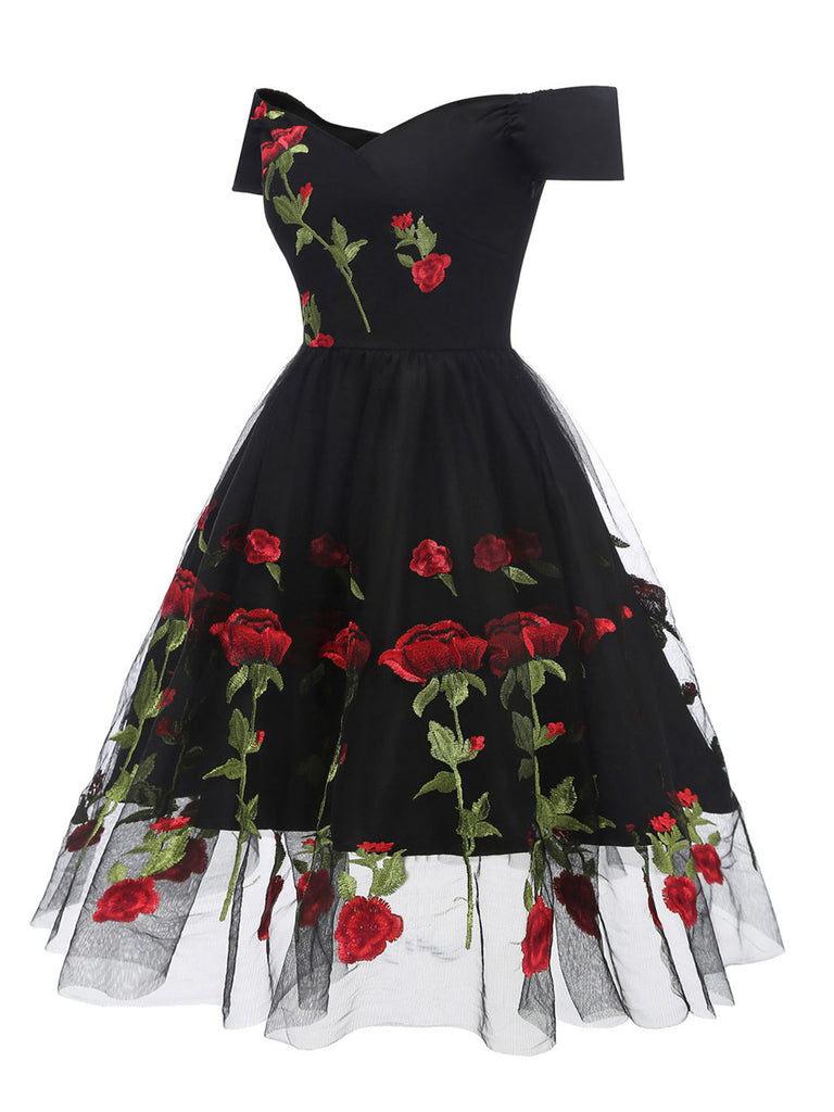 2Pcs Top Seller Rose Embroidery Dress & Black Petticoat