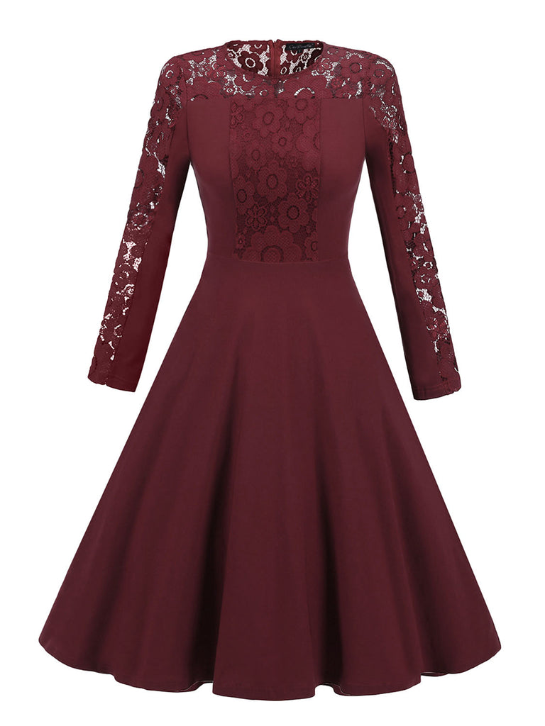 Elegant Solid Color Long Sleeve Stitching Lace Dress