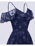 Lace Dress Solid Color Elegant A-Line Dress