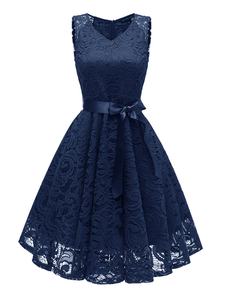 Elegant Lace Dress V Neck Sleeveless Midi Dress