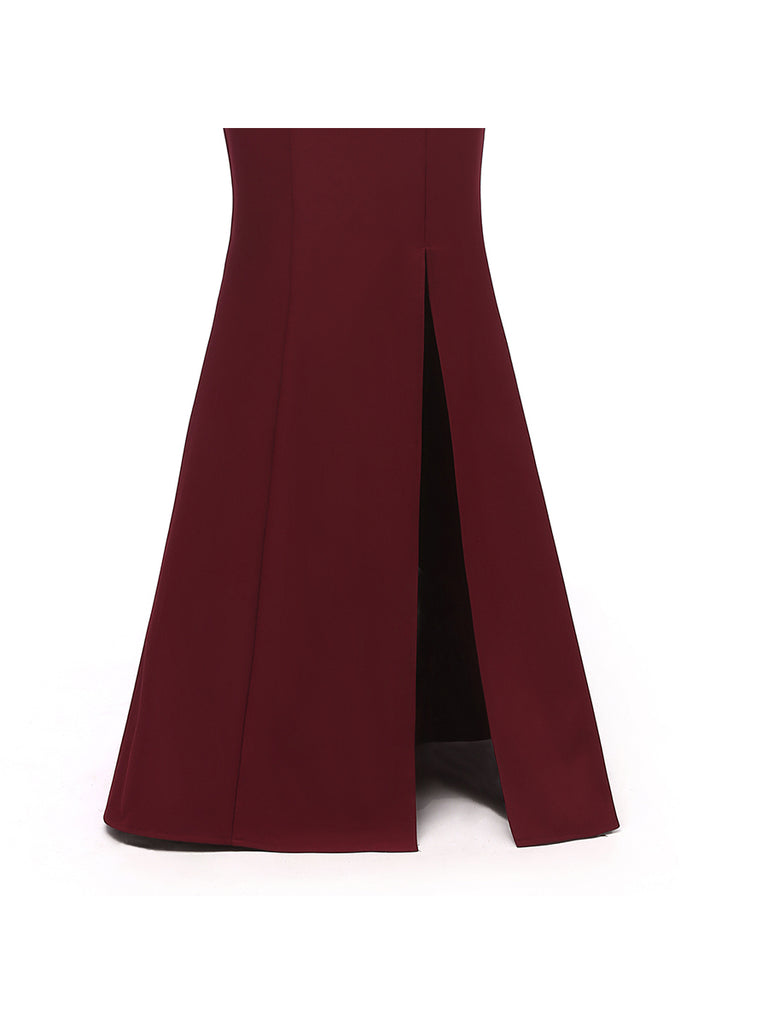 Formal Prom Gown Slim Elegant Split Slash Neck Maxi Long Prom Dress