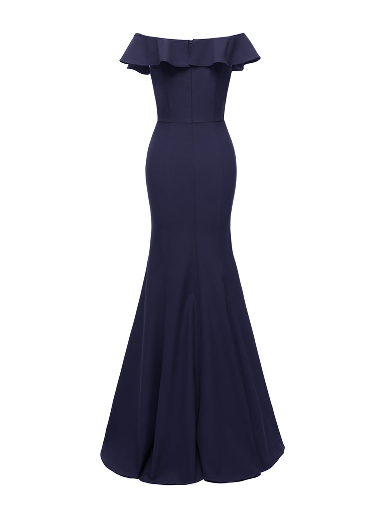 Elegant Prom Dress Ruffle Slash Neck Maxi Long Dress