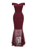 Mermaid Dress Lace Hem Slash Neck Elegant Evening Dress