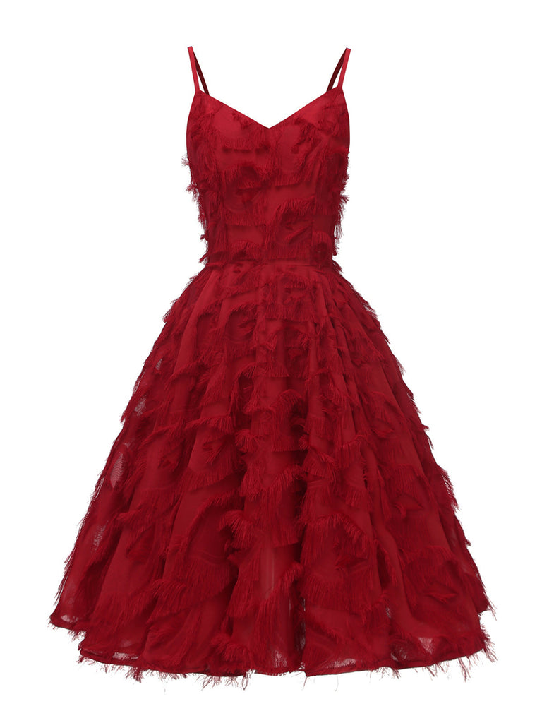 Homecoming Dress Fringed Spaghetti Straps A-line Dress