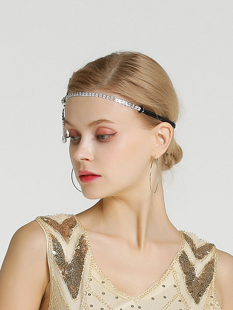 Art Deco Hair Accessories 1920s Pearl & Crystal Headband
