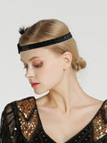 20's Ladies Headband Stretch Accessories Feather&Rhinestone