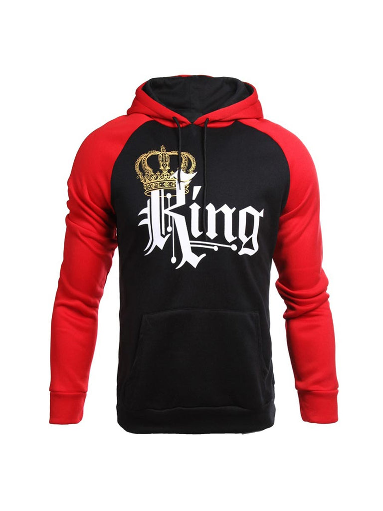 Couple Sweatershirt Queen And King Printed Hooded Pullover