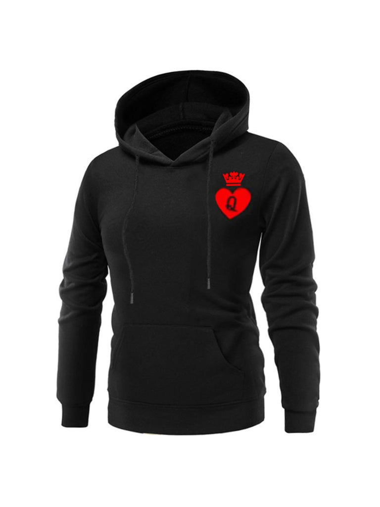 Couple Queen And King Poker Printed Hooded Pullover