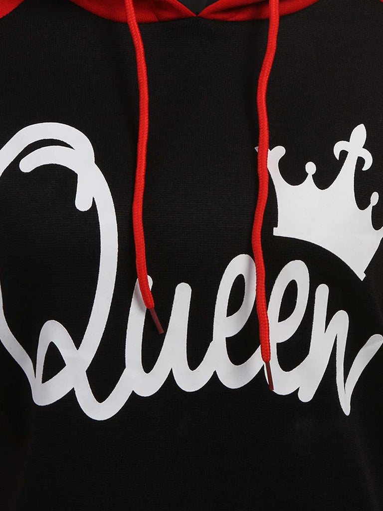 King Queen Couple Pullover Color Matching Print Hoodie Sweatershirt