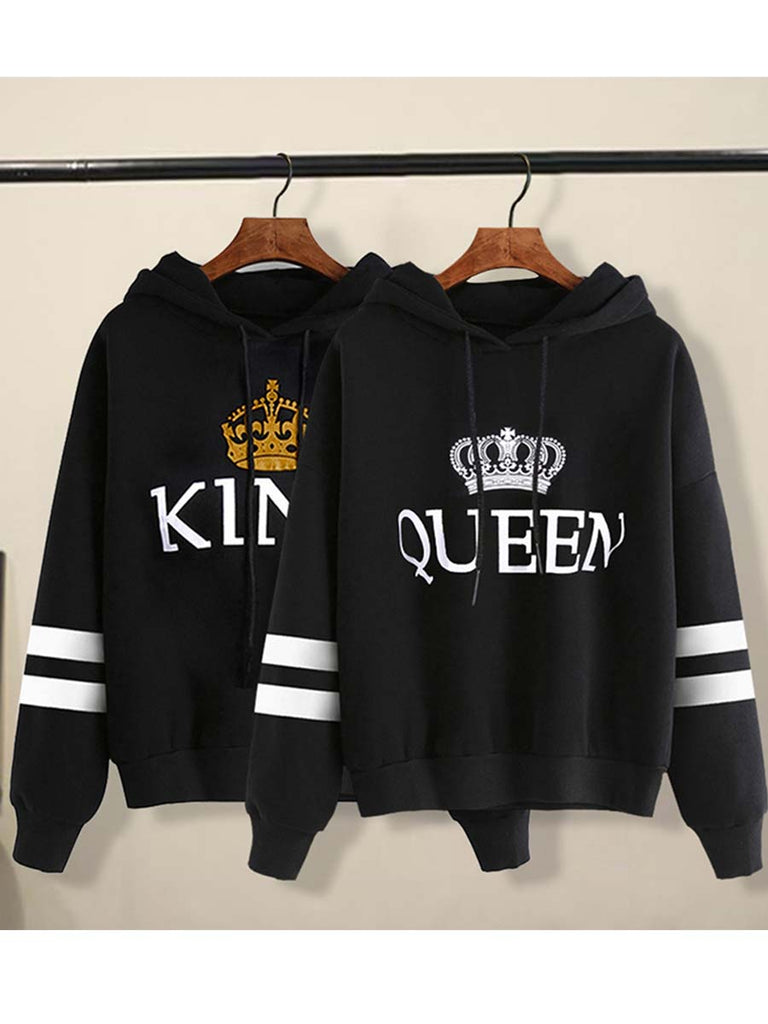 Hoodie Sweatershirt King Queen Print Stripe Couple Pullover
