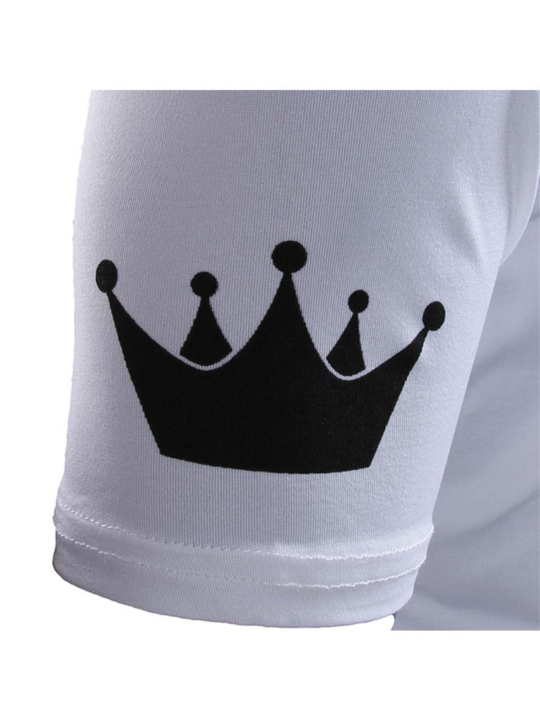 Couple T-Shirt King Queen Crown Print Lovers Short Sleeve Top