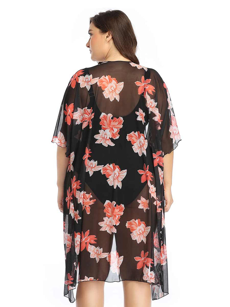 Swimsuit Coverups Lightweight Floral Print Loose Cardigan