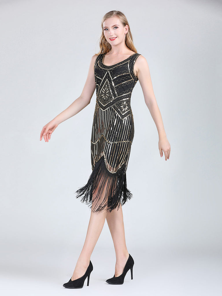 Flapper Dress 20s Sequin Double V-neck Beaded Fringed Dress