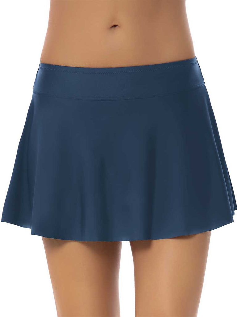 Lady Swimsuit Wild Solid Color Swim Shorts Skirt