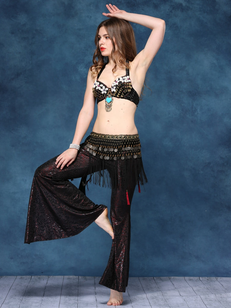 Floral Top With Tassel Waist Chain Tribal Belly Dance Costume