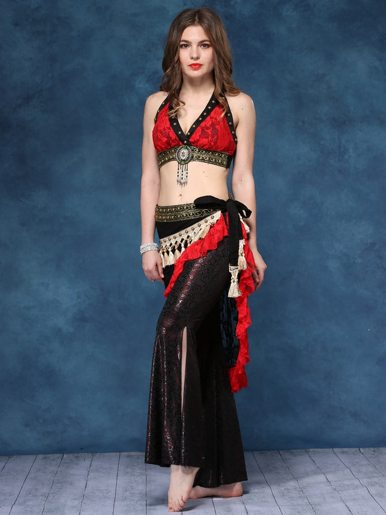 Exotic Belly Dance Costume With Fashionable Lace Waist Closure And Pendant Embellishments Top