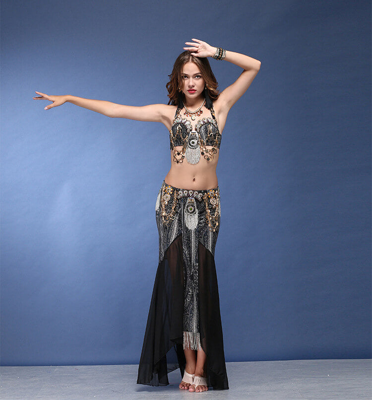 Shell Top And  Arabic Print Design Exotic Belly Dance Costume