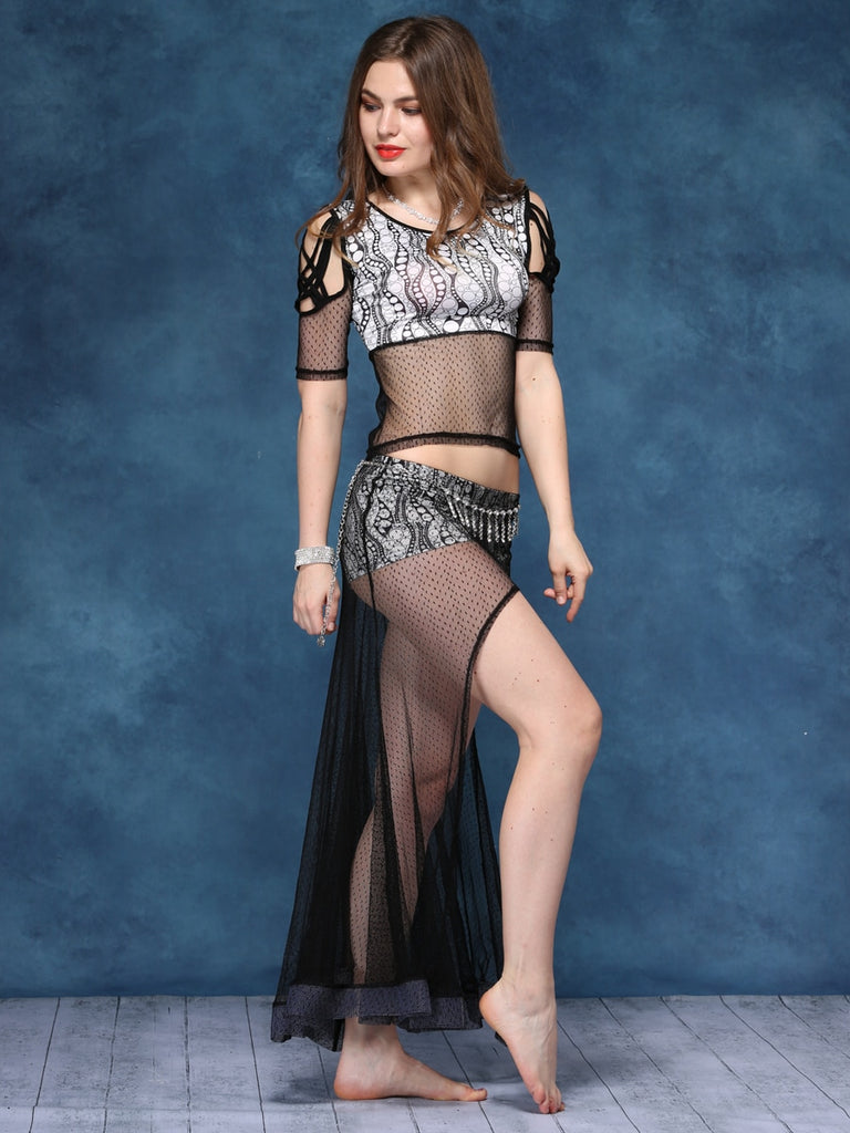 Blue Print Lace Stitching Design Belly Dance Practice Performance Clothes