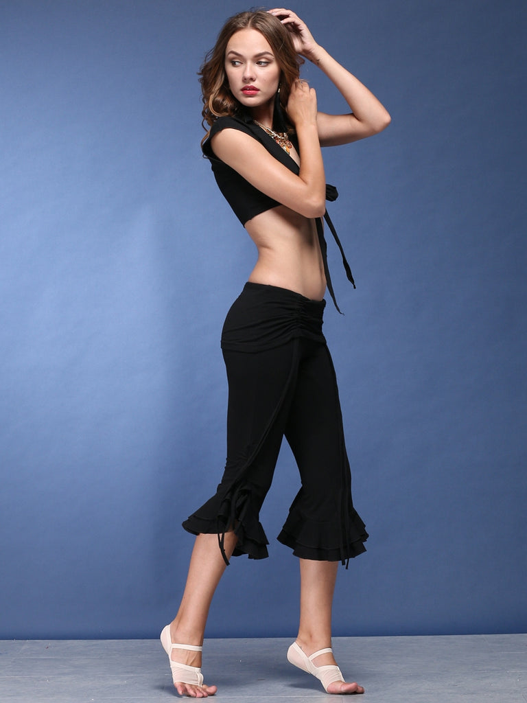 Band Design Short Top  Mid - Length Broad Leg Bell-Bottom Trousers Belly Dance Training Suit