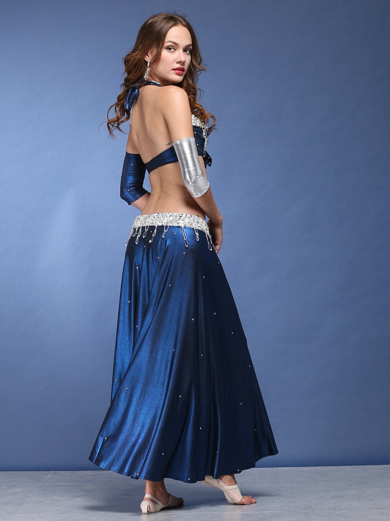 Indian Blue Rhinestones Sparkle Belly Dance Dresses