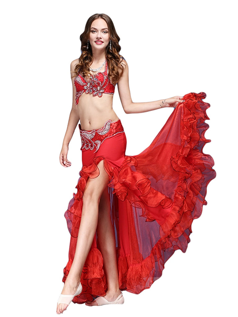 Crystal Diamond Bra With Gorgeous Waist Closure Lace Skirt Belly Dance Skirt