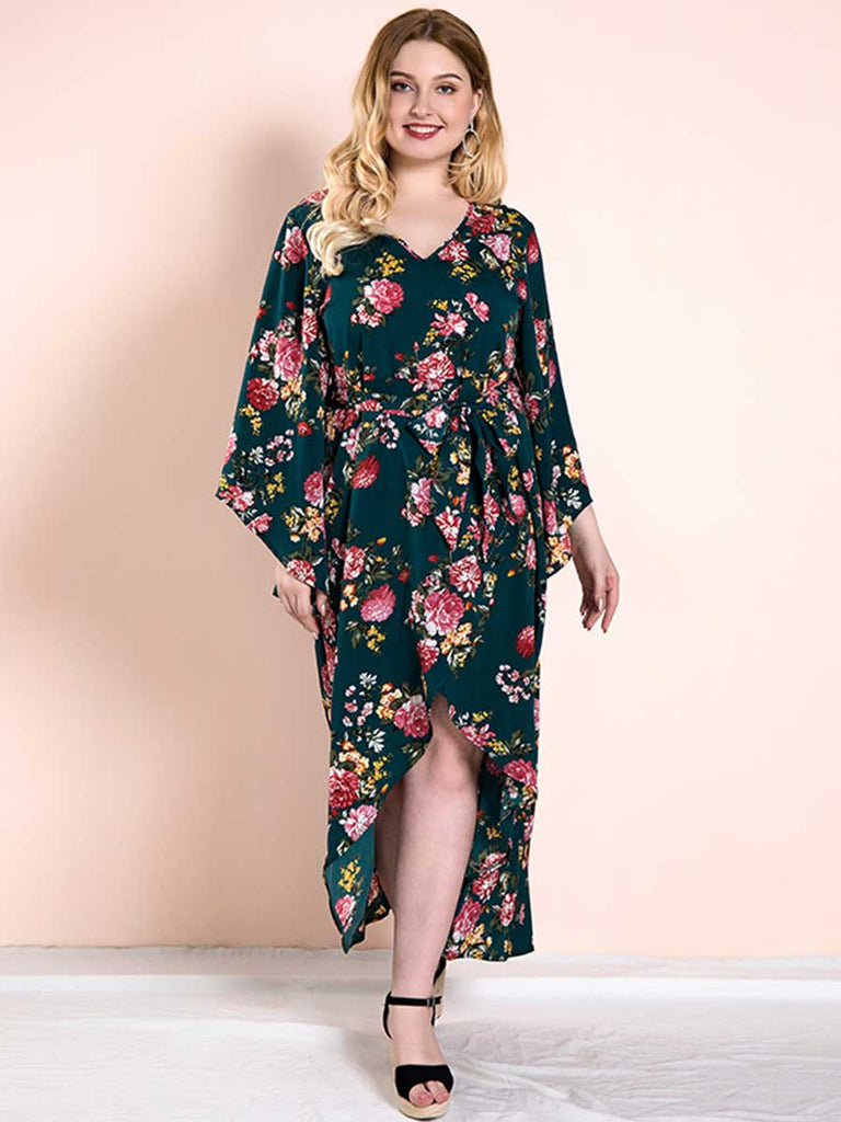 Plus Size Dress Casual Loose Irregular Hem Floral Dress