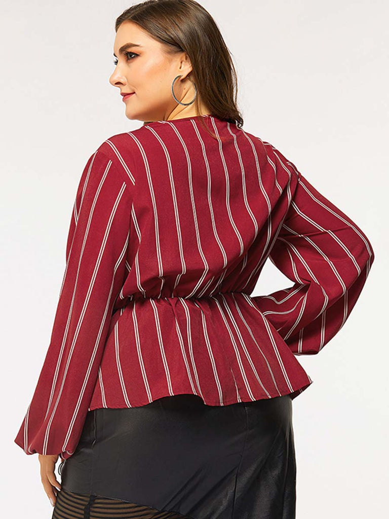Stripe Long-sleeved V-neck Knotbow Slim-fit Blouse