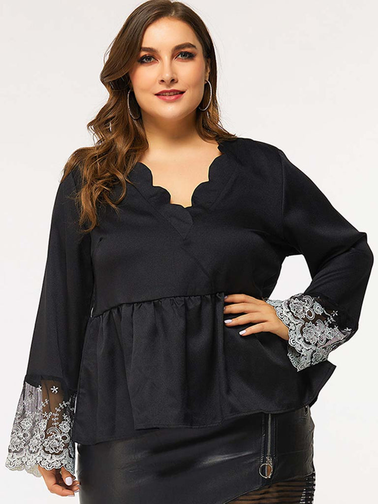 Trendy Lace Stitching Long-sleeved V-neck Straight Hedging Blouse