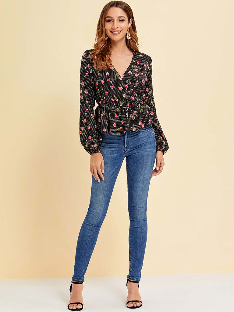 Women Tops Trendy Hedging V-neck Slim Floral Shirt